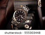 man wrist watch black color... | Shutterstock . vector #555303448