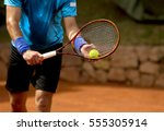 a tennis player prepares to... | Shutterstock . vector #555305914