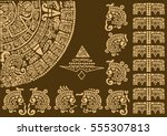 calendar fragment of ancient... | Shutterstock .eps vector #555307813