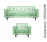 green sofa and armchair  ...   Shutterstock . vector #555316198