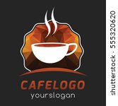 polygonal cafe coffee simple... | Shutterstock .eps vector #555320620