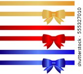 festive ribbons with bows. flat ... | Shutterstock .eps vector #555327010
