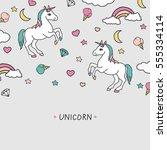 vector cartoon cute unicorns... | Shutterstock .eps vector #555334114