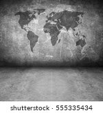 world globe grunge interior | Shutterstock . vector #555335434