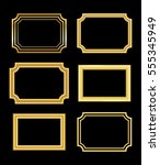 gold frame. beautiful simple... | Shutterstock . vector #555345949