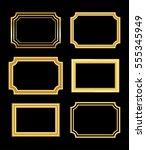 gold frame. beautiful simple... | Shutterstock . vector #555345949