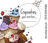 cupcakes line drawn on a white... | Shutterstock .eps vector #555350488