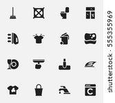 set of 16 editable hygiene... | Shutterstock . vector #555355969