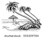 ocean or sea beach with palms ... | Shutterstock .eps vector #555359704