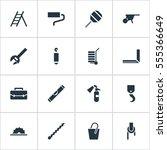 set of 16 editable instrument... | Shutterstock .eps vector #555366649