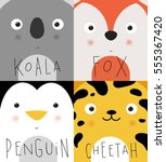 set of animal muzzles koala ... | Shutterstock .eps vector #555367420