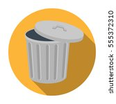trash can icon in flat style... | Shutterstock . vector #555372310