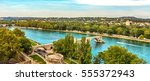 view of the river rhone and the ... | Shutterstock . vector #555372943