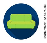 green couch icon in flat style... | Shutterstock . vector #555376303