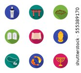 religion set icons in flat... | Shutterstock .eps vector #555389170