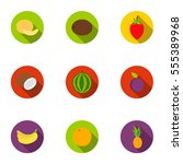 fruits set icons in flat style. ... | Shutterstock .eps vector #555389968