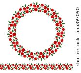 wreath of cherries and seamless ... | Shutterstock .eps vector #555397090