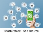 blockchain and mobile computing ... | Shutterstock . vector #555405298
