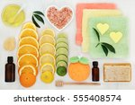 skin and body care products... | Shutterstock . vector #555408574