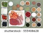 healthy food for body builders... | Shutterstock . vector #555408628