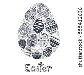 easter egg logo template for... | Shutterstock .eps vector #555412636