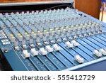 audio mixer and microphone | Shutterstock . vector #555412729