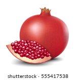 pomegranate or garnet isolated... | Shutterstock .eps vector #555417538
