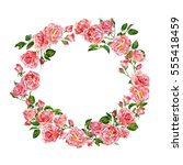 big wreath of roses. white... | Shutterstock . vector #555418459