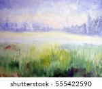 morning  oil paintings  canvas | Shutterstock . vector #555422590