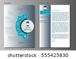resume and cover letter in flat ... | Shutterstock .eps vector #555425830