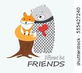 cute fox and bear hand drawn... | Shutterstock .eps vector #555427240