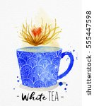 teacup with white tea drawing... | Shutterstock .eps vector #555447598
