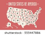 poster map of united states of... | Shutterstock .eps vector #555447886