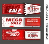 vector holiday sale banners on... | Shutterstock .eps vector #555449980
