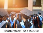 graduation ceremony ... | Shutterstock . vector #555450010
