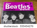 Small photo of LONDON, UK - JANUARY 13TH 2017: Close-up shot of issue number 7 of The Beatles Monthly Book, issued in February 1964, placed on a tabletop, pictured on 13th January 2017.