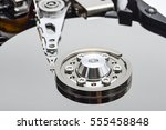 close up inside of hard disk... | Shutterstock . vector #555458848