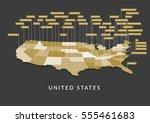 3d usa state map | Shutterstock .eps vector #555461683