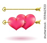 valentine's day gold arrow and... | Shutterstock .eps vector #555462523