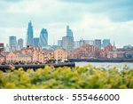 view of london docklands with... | Shutterstock . vector #555466000