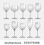 different types of wine glasses ... | Shutterstock .eps vector #555475498