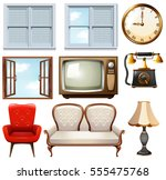 retro furniture and object set | Shutterstock .eps vector #555475768