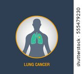 lung cancer vector logo icon... | Shutterstock .eps vector #555479230