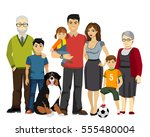 big and happy family ... | Shutterstock . vector #555480004