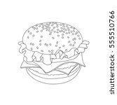 hamburger outline vector... | Shutterstock .eps vector #555510766