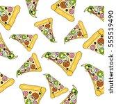 pattern of pizza. vector. | Shutterstock .eps vector #555519490