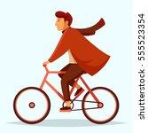 elegant man in a coat  pants... | Shutterstock .eps vector #555523354