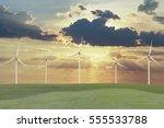 wind turbines on grass field... | Shutterstock . vector #555533788