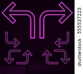 neon contour arrow set. vector... | Shutterstock .eps vector #555537223