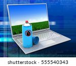 3d illustration of laptop over... | Shutterstock . vector #555540343